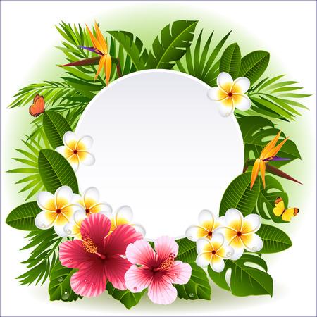 Illustration pour tropical flowers and plants  - image libre de droit