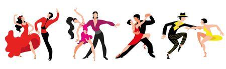 Vektor für A set of couples dancing Latin American dancing. Couples dance Samba, Rumba, Paso Doble, Jive. - Lizenzfreies Bild