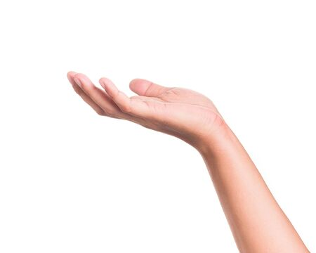 Photo for Hands gesture holding something on isolated background. - Royalty Free Image