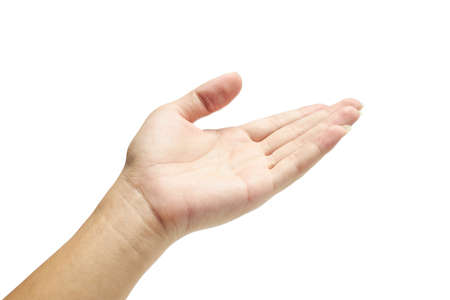 Foto de Human's hand holding something on isolated with clipping path. - Imagen libre de derechos