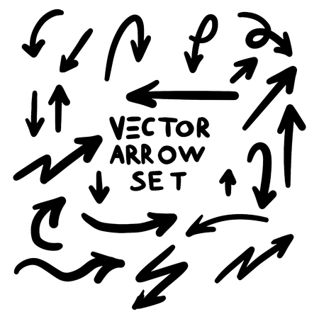 Illustration pour Illustration of Grunge Sketch Handmade Marker Doodle Vector Arrow Set - image libre de droit