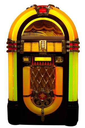 Retro jukebox isolated on white