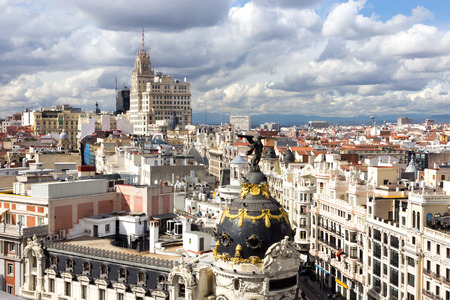 Panoramic aerial view over Madrid Spain.