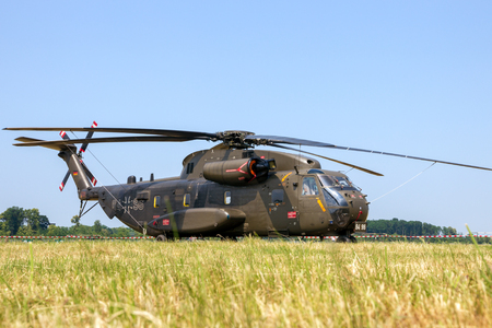 NORVENICH, GERMANY - JUNE 12, 2015: German army Sikorsky CH-53 Stallion transport helicopter at Norvenich airbase.
