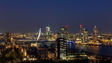 Foto für ROTTERDAM, NETHERLANDS - MAR 16, 2016: Evening view on the Rotterdam city skyline. - Lizenzfreies Bild