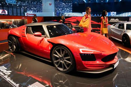 Foto per Mole Costruzione Artigianale Almas sports car showcased at the 89th Geneva International Motor Show. Geneva, Switzerland - March 5, 2019. - Immagine Royalty Free