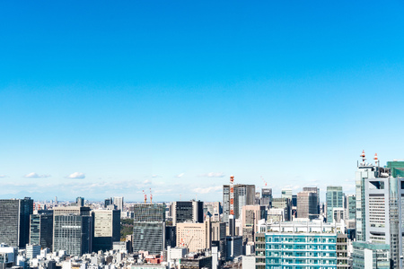 Photo for panoramic urban city skyline aerial view under blue sky in hamamatsucho, tokyo, Japan - Royalty Free Image