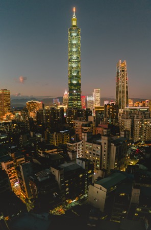 Photo for Taipei, Taiwan - September 09, 2019 : Xinyi District at Taipei, Taiwan.The district is a prime shopping area in Taipei, anchored by a number of department stores and malls. - Royalty Free Image