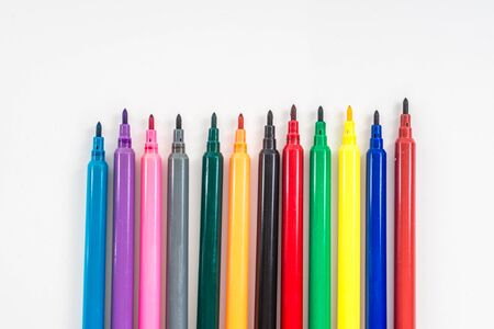 Foto de Colorful marker pen set on isolated background with clipping path. Vivid highlighter and blank space for your design or montage. - Imagen libre de derechos
