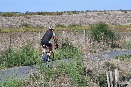 cyclist on a bike path