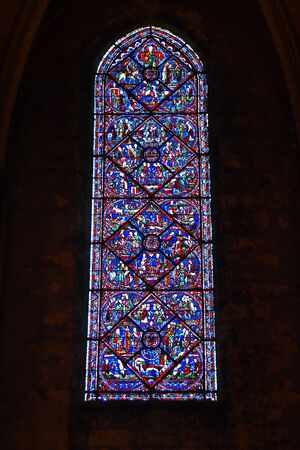 Foto de stained glass window of the cathedral of Chartres- France - Imagen libre de derechos