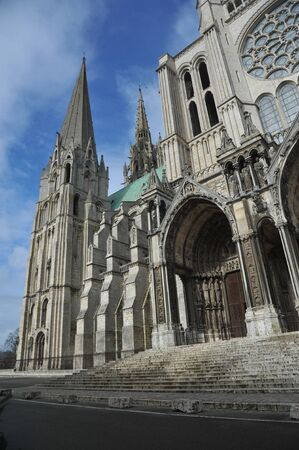 Photo for south facade of Chartres cathedral - France - Royalty Free Image