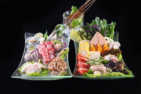 Foto de Seafood and fat beef slices hot pot set meal - Imagen libre de derechos