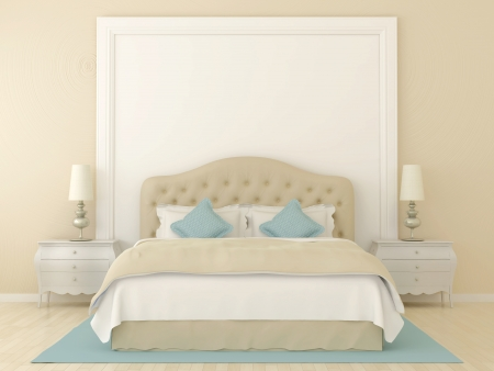 Bedroom in soft beige colors with blue decoration