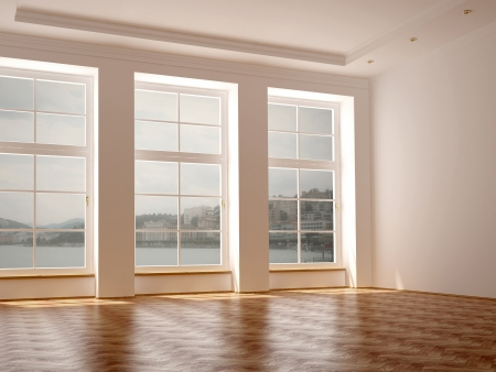 Photo pour Empty room in classical style with elegance parquet and large windows  - image libre de droit
