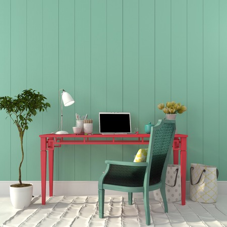 Photo pour Interior of a home office of a pink desk and a turquoise chair - image libre de droit