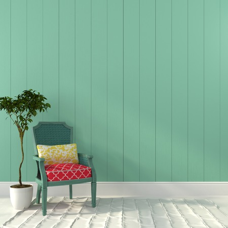 Photo pour Beautiful vintage chair and a plant against the background a turquoise wall - image libre de droit