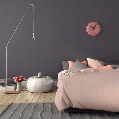 Photo for Cozy bedroom in pink and gray color with a stylish copper  floor lamp - Royalty Free Image
