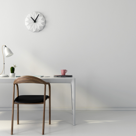 Stylish white workplace with a brown wooden chair