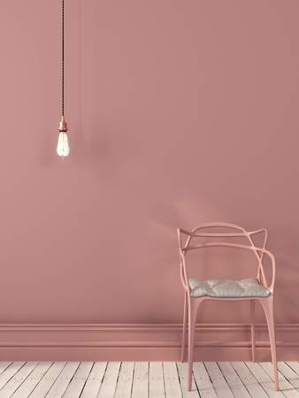 Photo for Pink interior composition with a chair and hanging Edison light bulb - Royalty Free Image