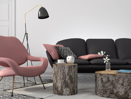 Foto de Stylish and modern living room in pink and gray color with coffee tables of stumps - Imagen libre de derechos