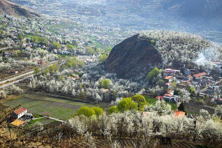 Foto für Pear flower garden and mountain village - Lizenzfreies Bild
