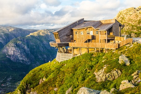 beautiful view on Kjerag Panoramic Restaurant, Lysefjorden fjord. Forsand, Rogaland, Norway