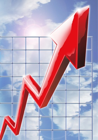 Illustration reflecting rising profits, outstanding performance and business success