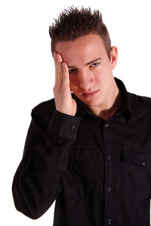 A young man suffers from migraine. All isolated on white background.