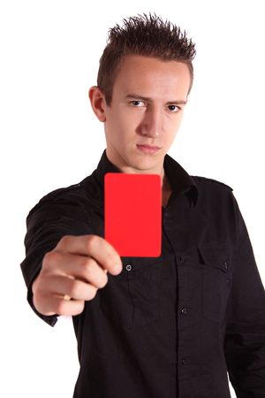 A young handsome man shows someone a red card. All isolated on white background.