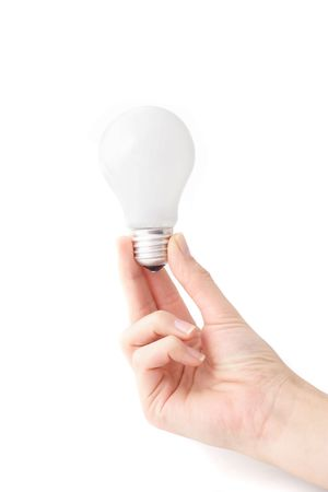 A human hand holding a bulb. All isolated on white background.