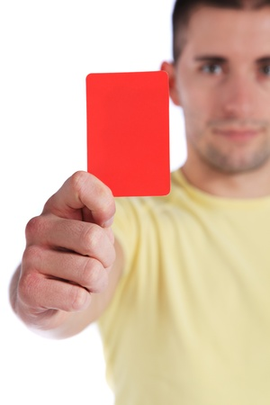 A fierce teenager showing someone the red card. All isolated on white background.