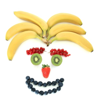Human face out of various fruits