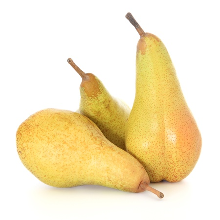 Ripe pears on white background