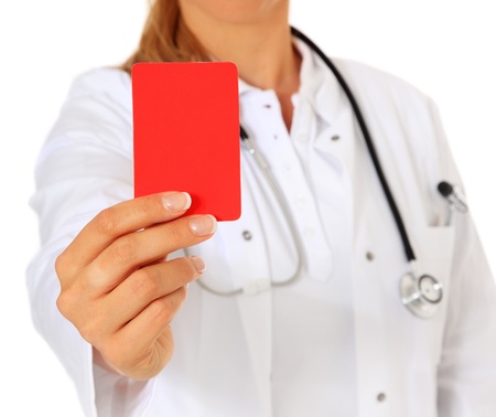 Doctor showing red card. All on white background.