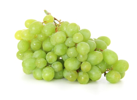 Fine green grapes  All on white background