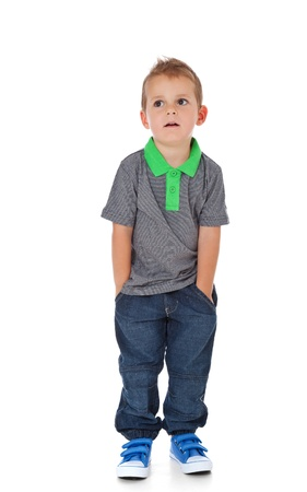 Full length shot of a cute little boy  All isolated on white background