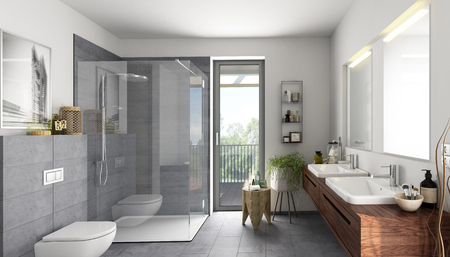 Photo for Bathroom natural stone gray - Royalty Free Image
