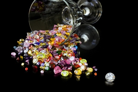 Diamond And Gems From Wine Glass
