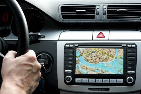 Photo pour Car dashboard with gps panel, travel and technology background - image libre de droit