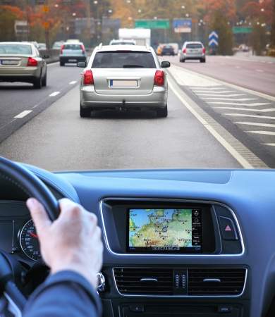 Highway driving fast with gps