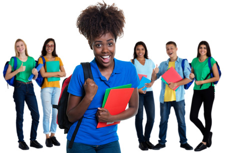 Photo pour Cheering african american female student with group of students - image libre de droit