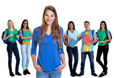 Photo for German female student with blond hair and group of students - Royalty Free Image