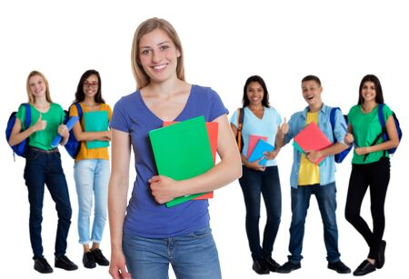 Photo pour Group of 5 caucasian and latin american students on an isolated white background for cut out - image libre de droit