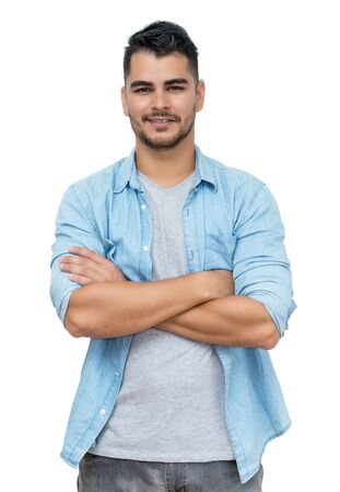 Photo pour Hispanic hipster man with beard and casual clothes - image libre de droit