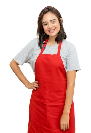 Photo pour Pretty caucasian waitress with red apron - image libre de droit