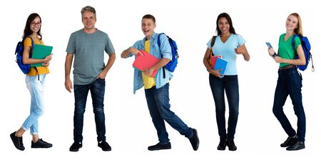 Photo pour Teacher with group of 4 international male and female students on an isolated white background for cut out - image libre de droit