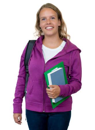 Photo pour Pretty german female student with blond hair - image libre de droit