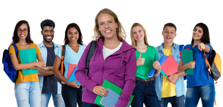 Photo pour German young adult woman with large group of international students - image libre de droit