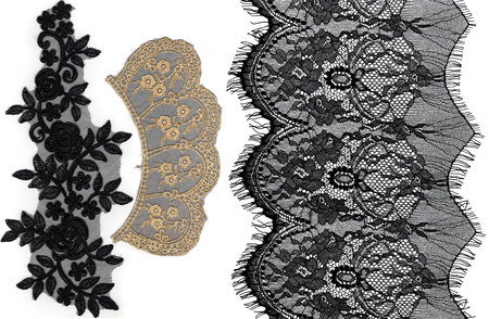 Photo pour lace with pattern in the manner of flower on white background - image libre de droit